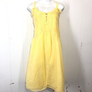 ESLEY Yellow Lined Crochet Bodice Dress ~sz M